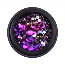 Decorative rhinestones in a jar, mixed, purple Chameleon, 12 gr