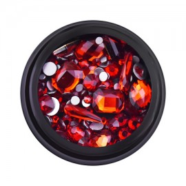 Decorative rhinestones in a jar, mixed, red, 12 gr