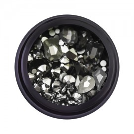 Decorative rhinestones in a jar, mixed, black, 12 gr