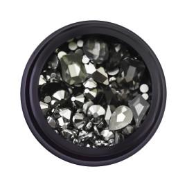 Decorative rhinestones in a jar, mixed, black, 12 gr